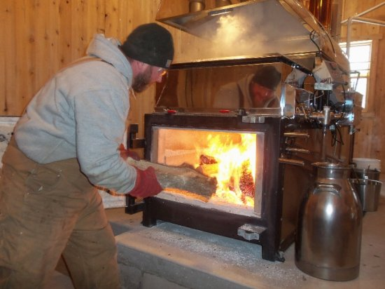 A hot fire is required in the sugar shack.
