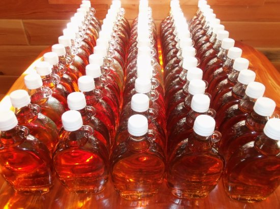 Bottles of pure homemade maple syrup from Manitowoc County, Wisconsin